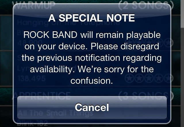 EA Backtracks On Shutting Down Rock Band Mobile