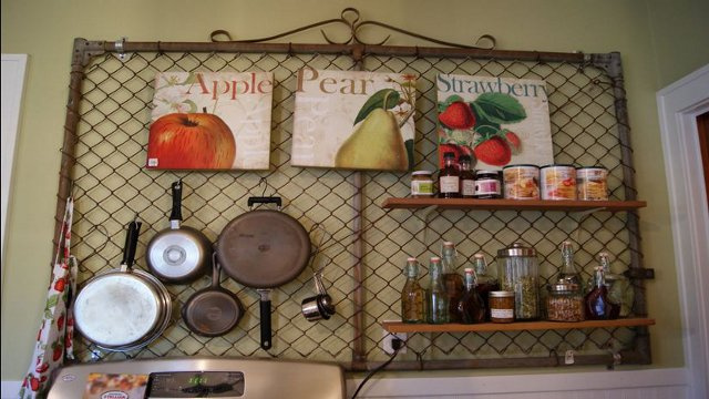 Turn a fence gate into a kitchen pegboard lifehacker for Kitchen pegboard ideas