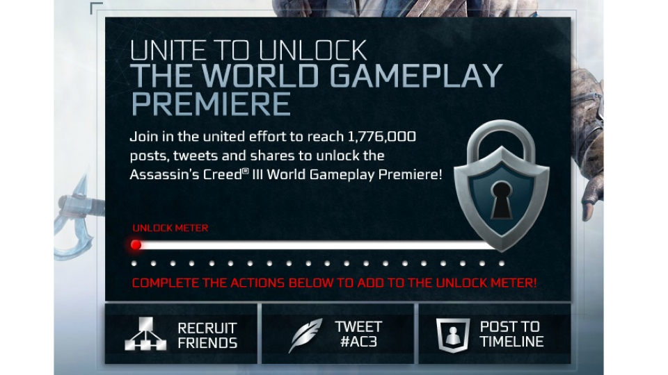 Click here to read This is a Weird, Depressing Way To Unlock a New <em>Assassin's Creed</em> Trailer