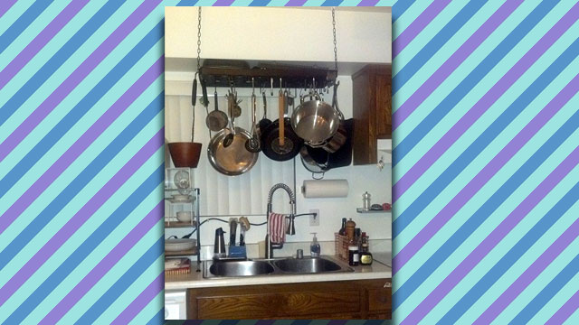 Skip Drying Your Pots and Pans by Hanging a Pot Rack Directly Over Your Sink