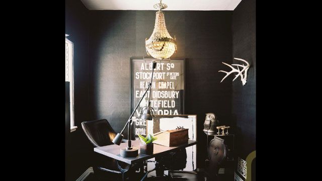 Click here to read Black Walls and Vintage Finds: The Dramatic Workspace