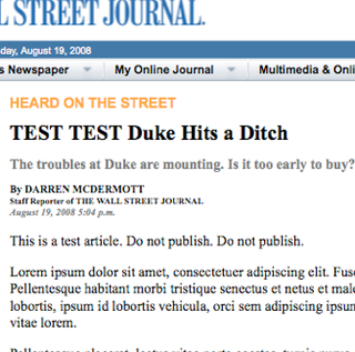 TEST TEST TEST-ing A New Low At The Journal?