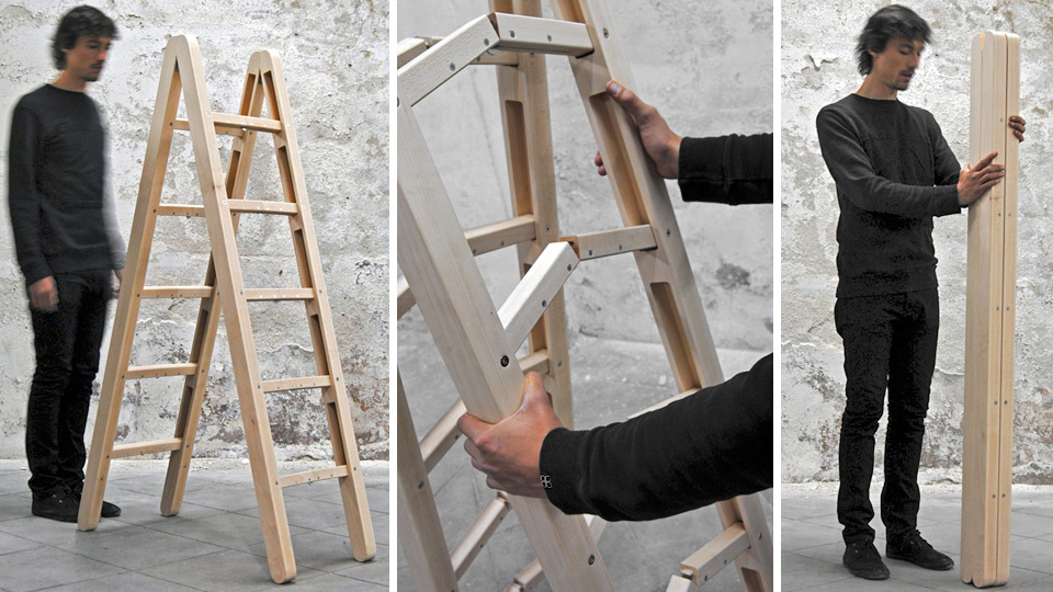 Ingenious Folding Ladder Practically Disappears For Easy Storage