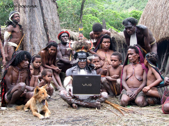 The Dani People of Papua with a Sony Vaio Laptop