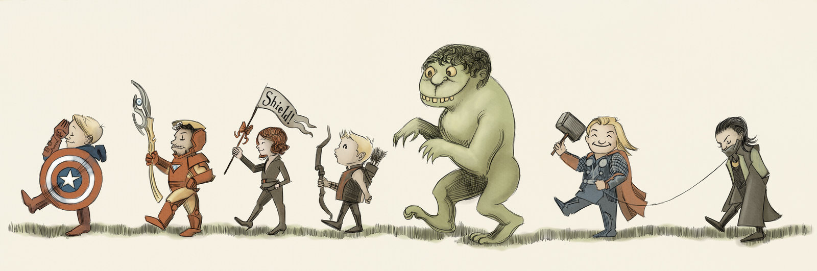 The Avengers, in style of Maurice Sendak
