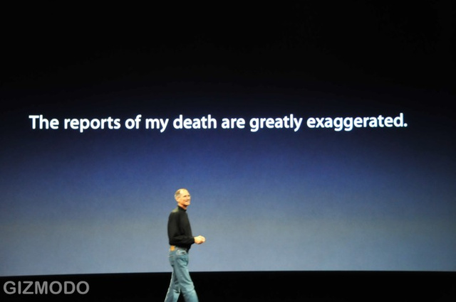Steve Jobs Responds to Accusations of Dying