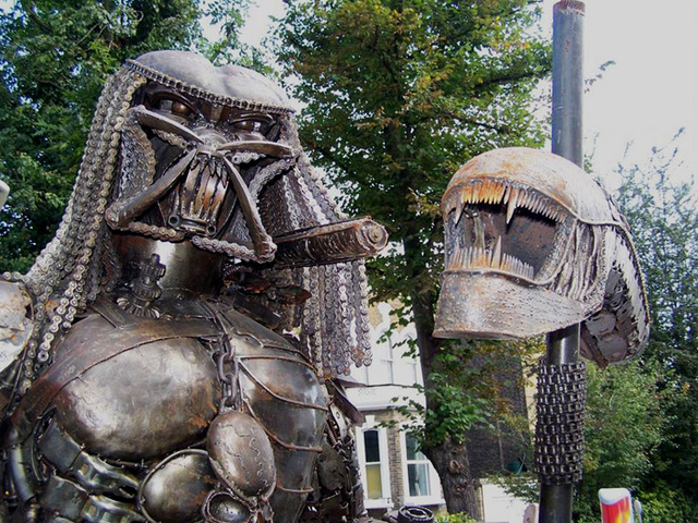 Steampunk Predator Stands Guard Over Junk Shop
