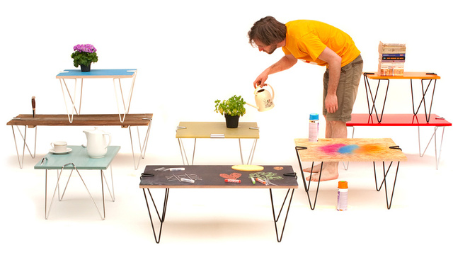 Giant Paperclips Turn Any Slab of Wood Into a Sturdy Table