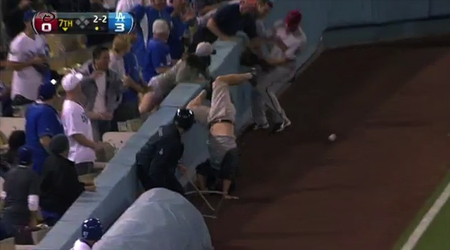 Clumsy Dodgers Fan Drops Foul Ball, Falls Onto Field, Knocks Over Beer