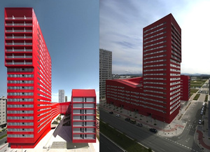 This Bright-Red Housing Complex Is Actually Green