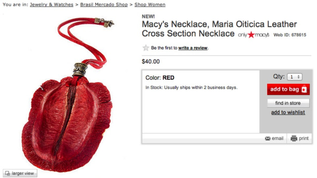 And Here Is A Macy's Necklace That Resembles An Inflamed Vulva