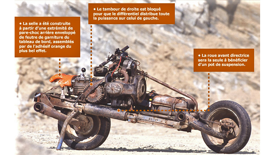 Real-Life Tony Stark Turns His Broken-Down Car Into A Motorcycle To Escape The Desert