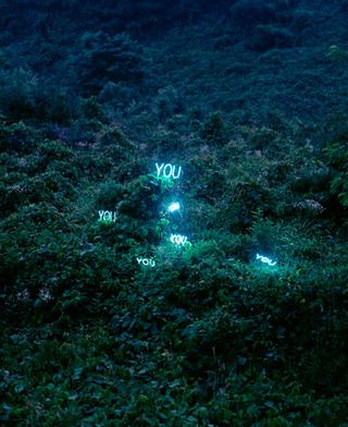 Glowing text messages spill out into the real world