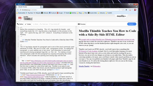 Click here to read Mozilla Thimble Teaches You HTML and CSS with a Side-by-Side HTML Editor