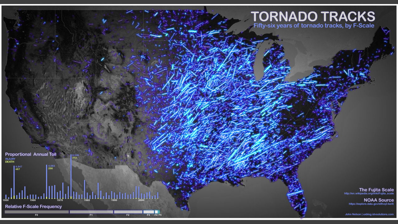 56 Years Of Deadly Tornadoes On One Gorgeous Map