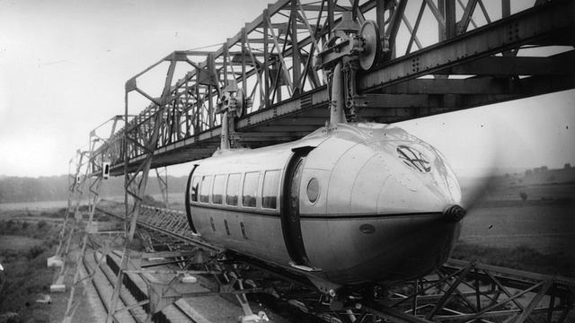 This propeller-powered monorail would have linked London to Paris