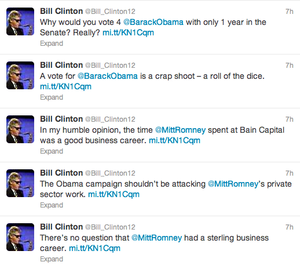 Romney Campaign Tweets From Bill Clinton Parody Account