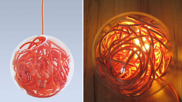 Hanging Lamp Cleverly Stores Its Extra Power Cord Slack