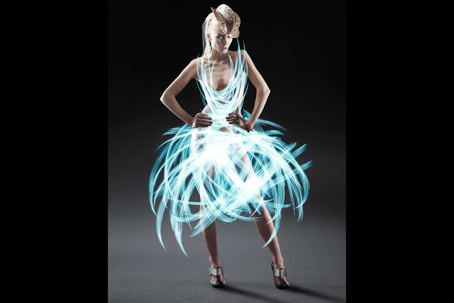 These brilliant dresses are made entirely of light