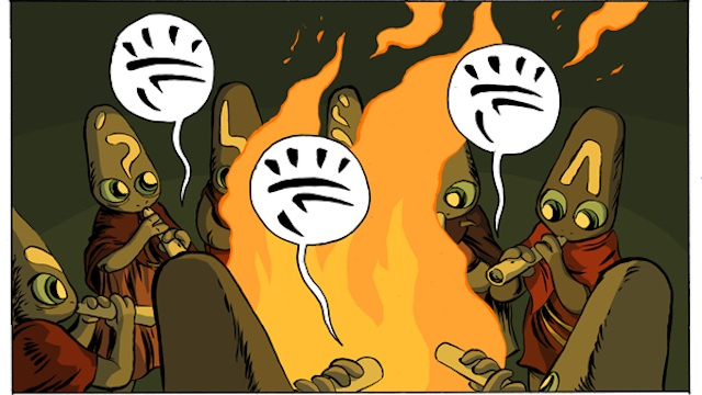 A nomadic tribe clashes with a burgeoning empire in the webcomic Vattu