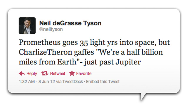 Neil DeGrasse Tyson Calls Out Prometheus For Its Sketchy Science