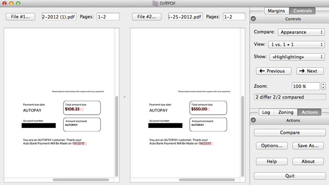 DiffPDF Finds Differences Between PDF Files