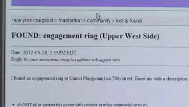 Woman's Lost Engagement Ring Returned by the All Knowing Craigslist
