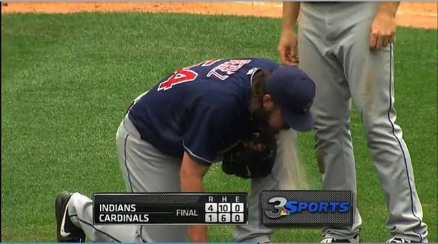 Indians Closer Chris Perez Celebrated Earning His 20th Save By Projectile Vomiting All Over The Mound