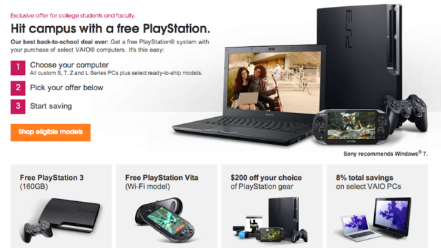 Sony Will Give You a Free PS3 or PS Vita If You Buy a Vaio Laptop
