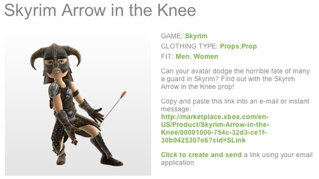 Finally, Your Xbox Live Avatar Can Take an Official Skyrim Arrow in the Knee