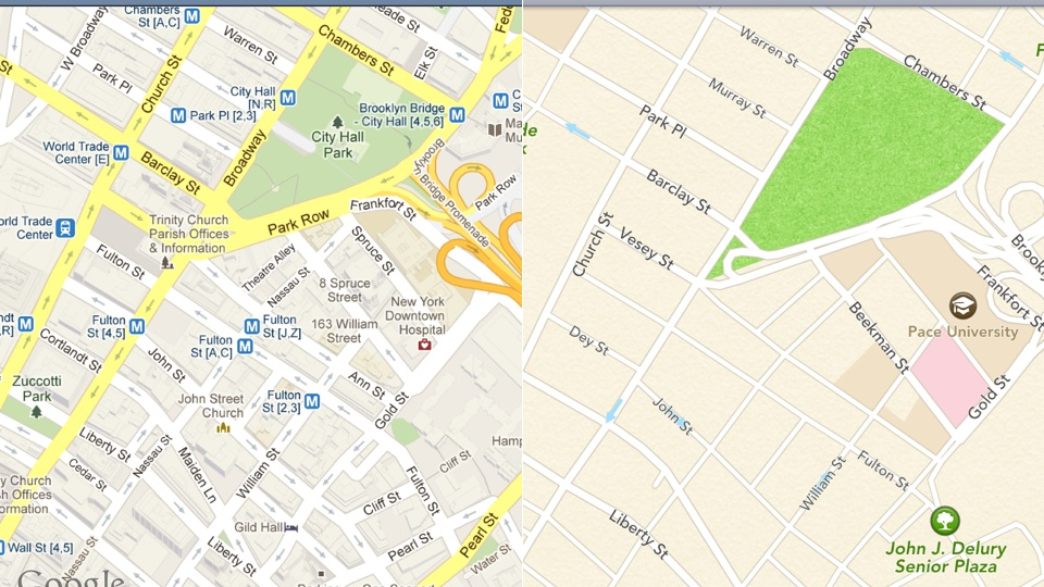 original Google Maps vs. Apple Maps: A Side By Side Comparison