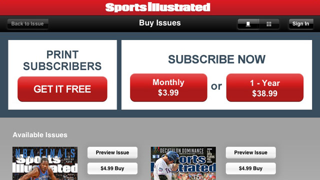 Click here to read It's No Longer Ridiculously Annoying to Get <i>Sports Illustrated</i> on Your iPad
