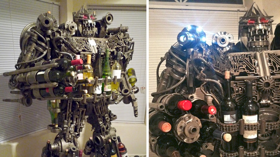 Life-Size, Hand-Made Transformers-Like Wine Rack Could Be Yours
