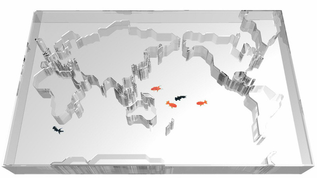 World Map Aquarium Makes Fish Think They Can Swim Around the Globe (Because They're Dumb)