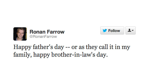 Ronan Farrow, Son of Mia and Woody, Wishes His Dad a Not-So-Happy Father's Day