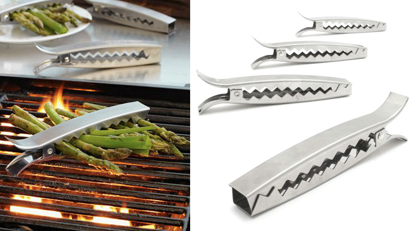 Giant Tie Clips Keep Your Veggies On The Grill And Out Of The Fire