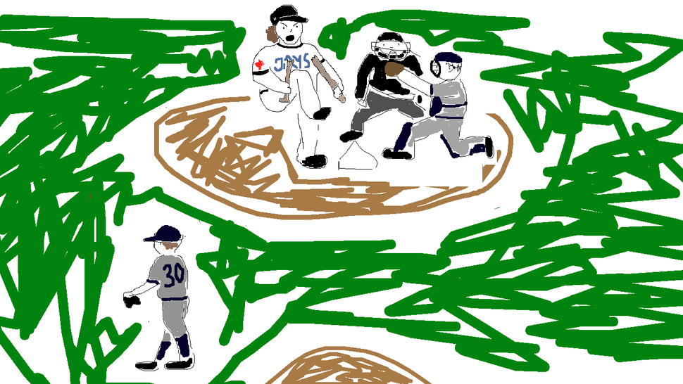 MLB Won't Let Us Show You Travis Snider Breaking His Bat Over His Knee, So Here's A Fucking Drawing I Did Instead