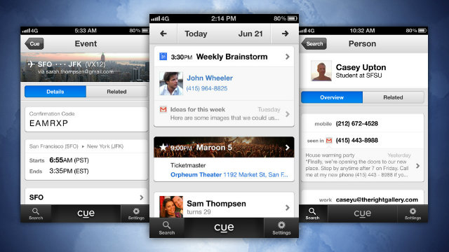 Click here to read Cue Turns Your Email, Contacts, and Calendars into a Smart Timeline of Your Day