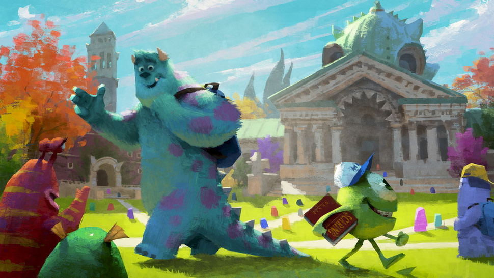 Concept art for <em>Monsters University</em> shows Sulley and Mike on the creepy quad