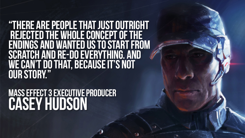 "Click here to read <em>Mass Effect 3</em> Executive Producer Casey Hudson: ""You Can Never Completely Satisfy Everyone."""