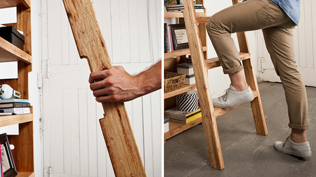 A Secret Pop-Out Ladder Ensures Nothing Is Ever Out of Reach On This Extra-Tall Shelf
