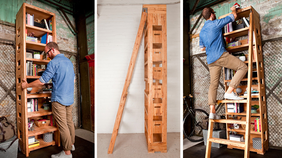 Click here to read A Secret Pop-Out Ladder Ensures Nothing Is Ever Out of Reach On This Extra-Tall Shelf