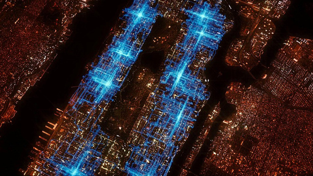 Watch Manhattan turn into the TRON Game Arena from hell