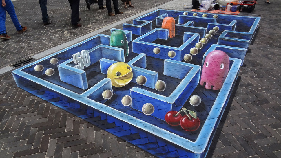 I Can't Stop Staring at This Amazing <em>Pac-Man</em> 3D Street Art