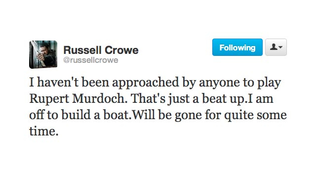 Russell Crowe Is Building a Boat, Will Be Gone for Some Time