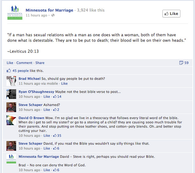 Minnesota for Marriage Claims Hackers Behind Facebook Post Saying Gays Should be 'Put to Death'