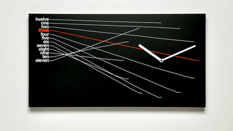 Click here to read A Modernist Clock That's Bad For Telling Time, but Beautiful on Your Wall