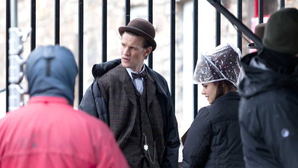 Matt Smith, Diana Rigg, Jenna-Louise Coleman and Brendan Patricks film <em>Doctor Who</em>