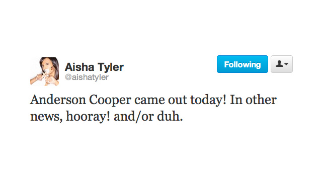 'Wait,' Says Twitter; 'Anderson Cooper Is Gay? Like Gay Gay?'