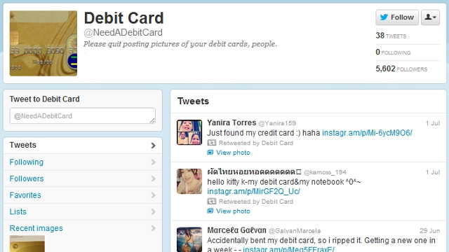 Twitter Account Tweet-Shames People Who Post Pictures of Their Bank Cards